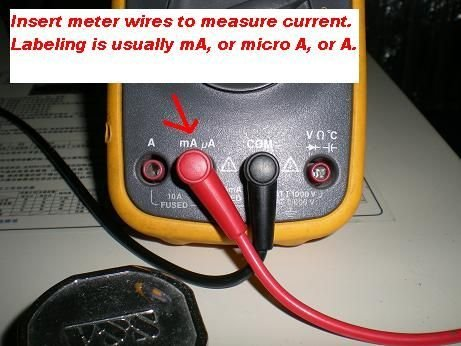 Picture of Insert Meter Wires to Measure Current (mA)